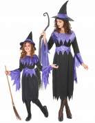 Déguisement de couple sorcières violettes Halloween mère fille