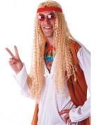 Perruque hippie extra longue blonde adulte