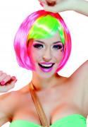 Perruque courte rose frange multicolore femme