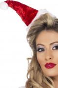 Mini chapeau Mère Noël effet velour femme
