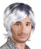 Perruque mi-longue grisonnante homme