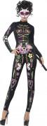 Déguisement combinaison squelette chat coloré femme Halloween
