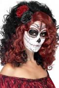 Perruque mi-longue noire et rouge avec fleurs adulte