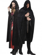 Cape noir aspect velours 170 cm adule Halloween