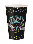 8 Gobelets en carton confettis Happy Birthday 25 cl