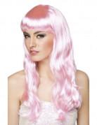 Perruque longue rose pâle femme