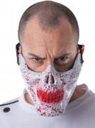 Demi masque tête de mort ensanglantée adulte Halloween