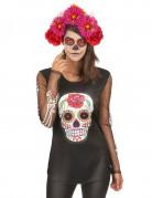 T-shirt squelette coloré femme Dia de los muertos