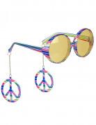 Lunettes colorées hippie adulte