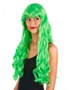 Perruque longue ondulée Vert fluo avec frange femme
