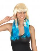 Perruque Tie & Dye blond et bleu femme