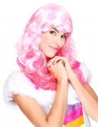 Perruque glamour avec frange rose femme