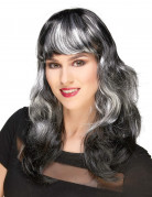 Perruque noire à frange avec balayage blanc femme