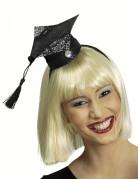 Mini coiffe étudiante paillettée noire femme