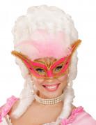 Loup baroque avec plumettes roses femme