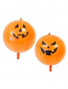 2 Ballons en latex citrouilles oranges 44 cm