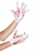 Gants courts blancs tachés de sang adulte Halloween