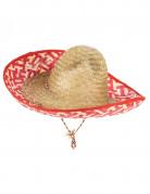 Sombrero Mexicain rouge et paille Adulte