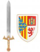 Kit bouclier et épée chevalier en plastique pour enfant