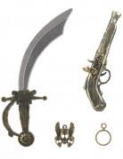 Kit de pirate en plastique - Sabre pistolet insigne et boucle d
