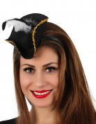 Serre-tête mini chapeau pirate noir