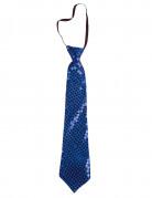 Cravate à sequins bleues adulte