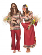 Déguisement de couple hippie bordeaux adultes