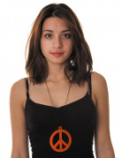 Collier pendentif peace orange fluo adulte