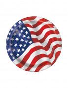 8 Petites assiettes en carton drapeau USA 17 cm