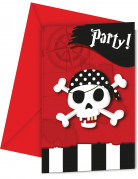 6 Cartes d'invitation + enveloppes carte au trésor pirates