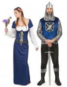 Déguisement de couple médiéval bleu adulte