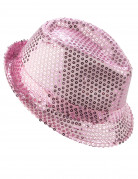 Chapeau borsalino à sequins rose clair adulte