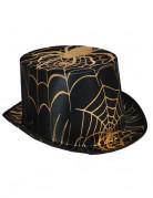 Chapeau haut de forme araignée noir et doré adulte Halloween