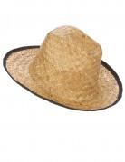 Chapeau cowboy paille avec rebord noir adulte