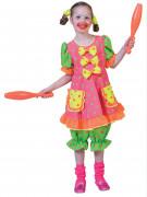 Déguisement clown fluo à pois fille
