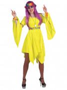 Déguisement hippie jaune fluo femme