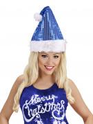 Chapeau à sequins bleus adulte Noël