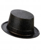 Chapeau haut de forme plastique pailleté noir adulte