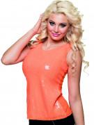 Top à sequins orange fluo femme