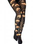 Collants noir avec citrouilles femme Halloween