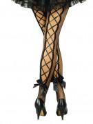 Collants résilles noirs avec laçage et nœud adulte