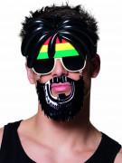 Lunettes avec moustaches rasta adulte