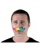 Moustache adhésive multicolore adulte