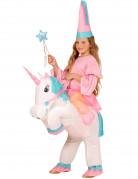 Déguisement princesse à dos de licorne gonflable fille