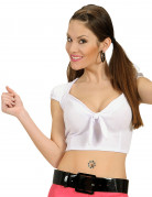 Top blanc avec noeud sexy femme