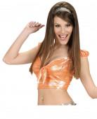 Top holographique orange avec noeud sexy femme