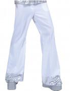 Pantalon disco blanc avec sequins sur le bas homme