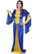 Déguisement robe médiévale jaune et bleue femme