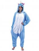 Déguisement combinaison licorne bleue adulte