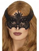 Loup dentelle diablesse noir femme Halloween
